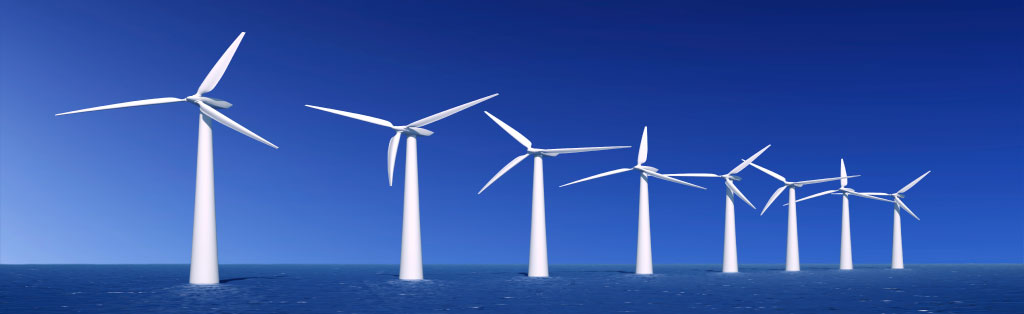 Image of large wind farm with active windmills